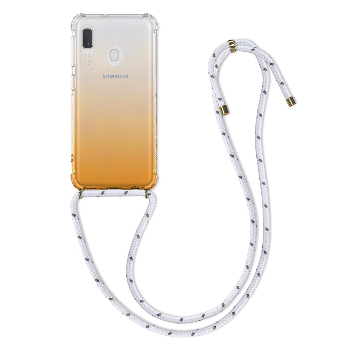 Kvalitní silikonové TPU pouzdro pro Samsung A20e - Bicolor žluté / transparentní