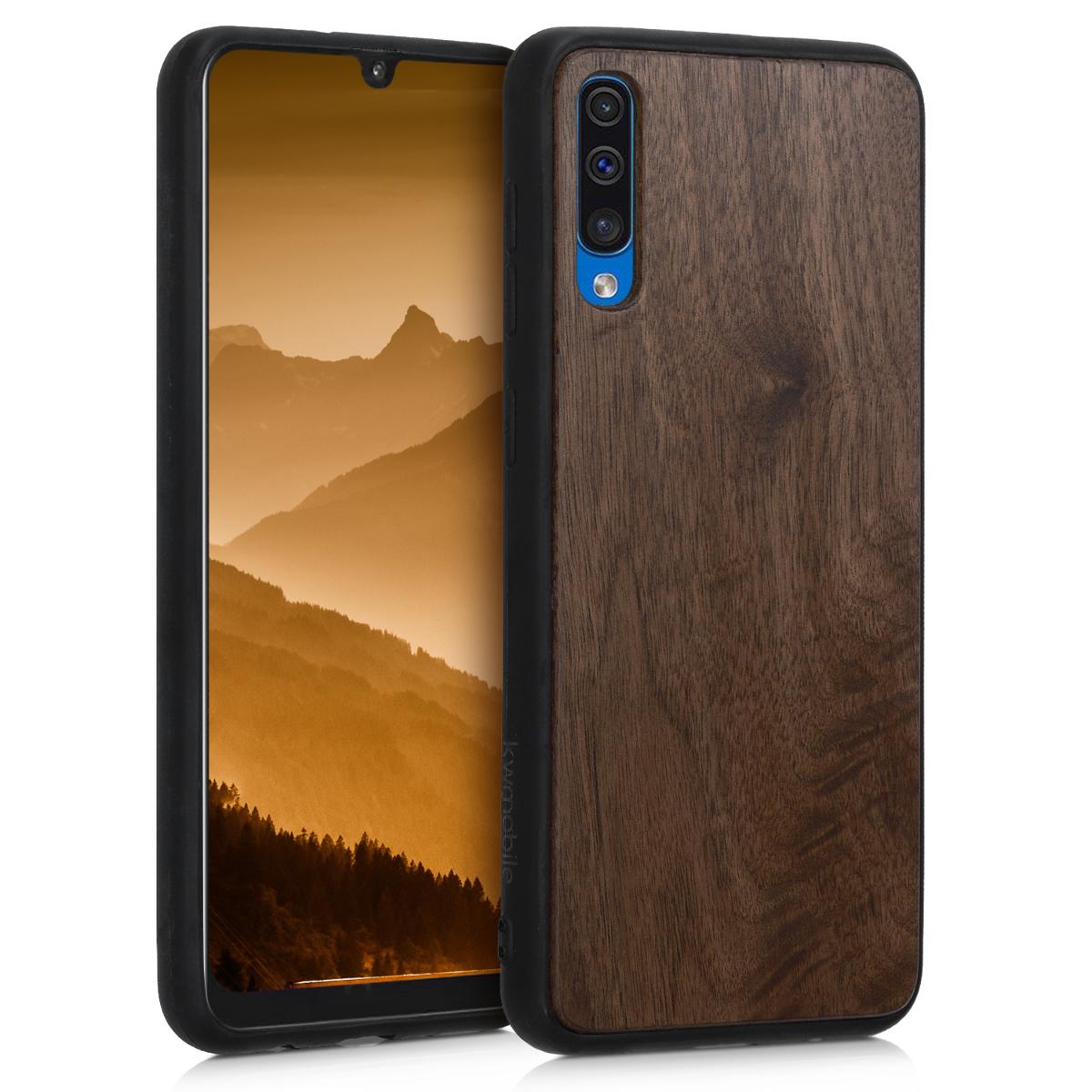 Dřevěné pouzdro pro Samsung A50 - tmavě hnědá