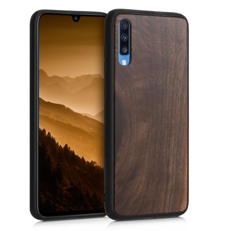 Dřevěné pouzdro pro Samsung A70 - tmavě hnědá