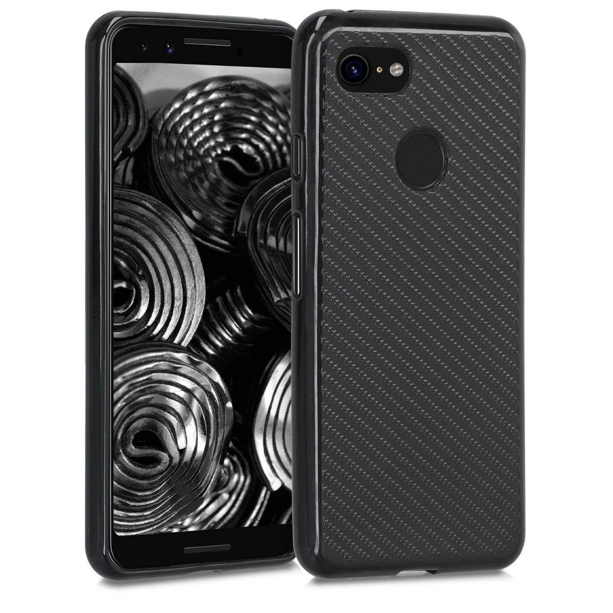 Kvalitní silikonové TPU pouzdro | obal pro Google Pixel 3 - Karbonová metalíza černá