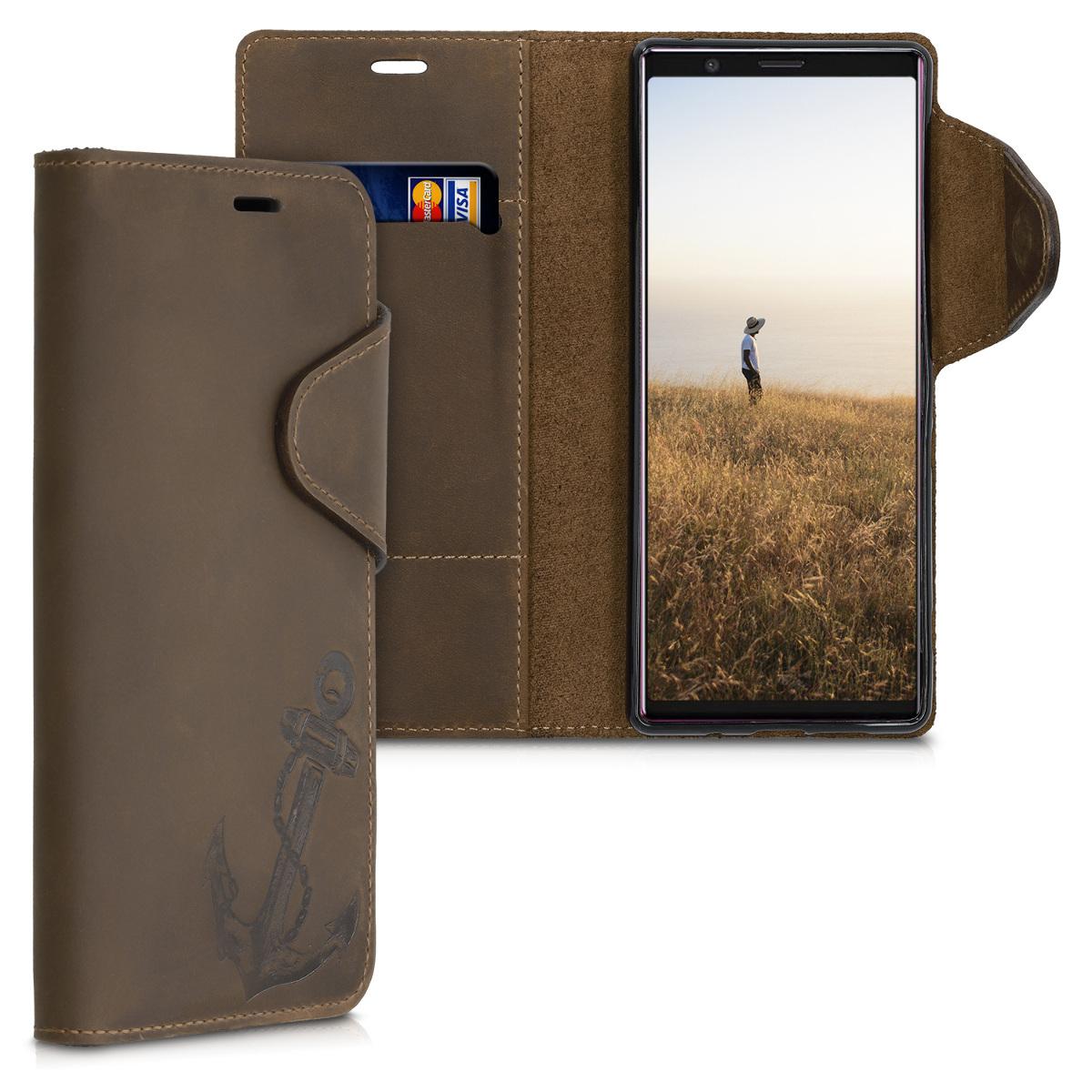 Kožené pouzdro | obal pro Sony Xperia 5 - Vintage Anchor hnědé