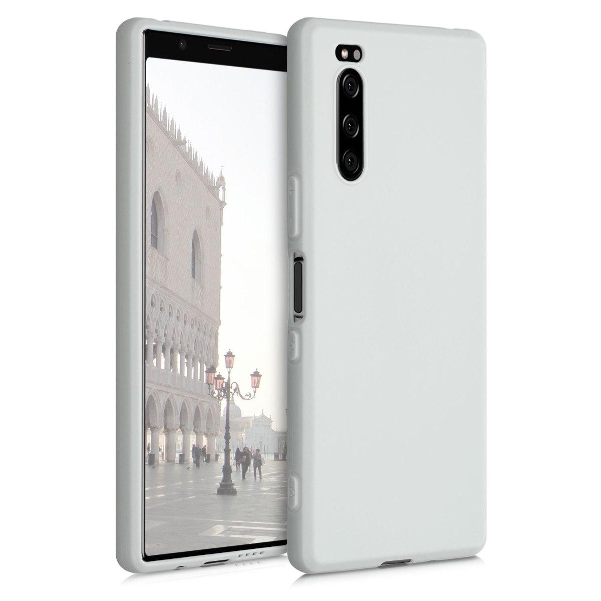 Kvalitní silikonové TPU pouzdro | obal pro Sony Xperia 5 - světle šedématné