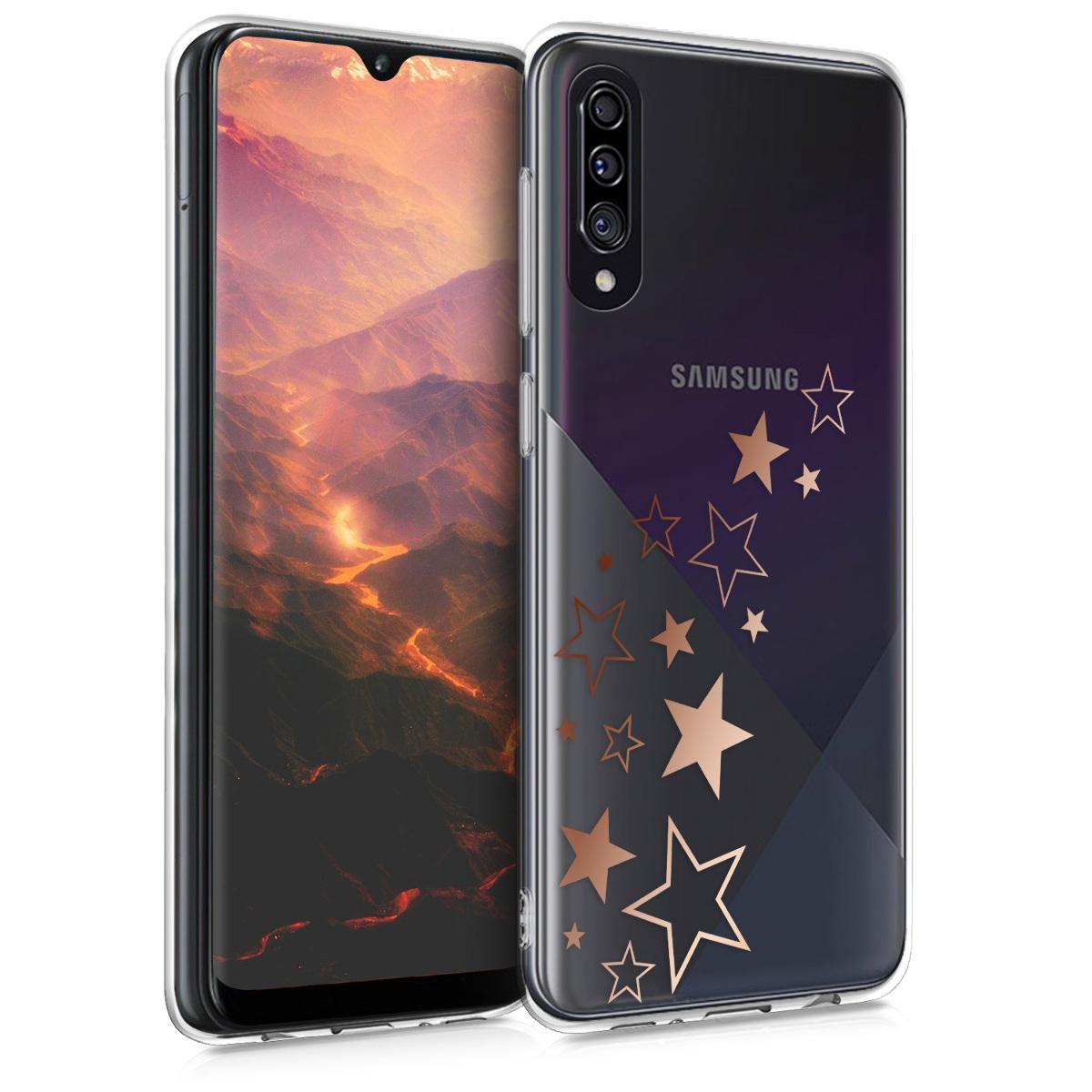 Kvalitní silikonové TPU pouzdro pro Samsung A30s - Hvězda Mix starorůžové rosegold / transparentní