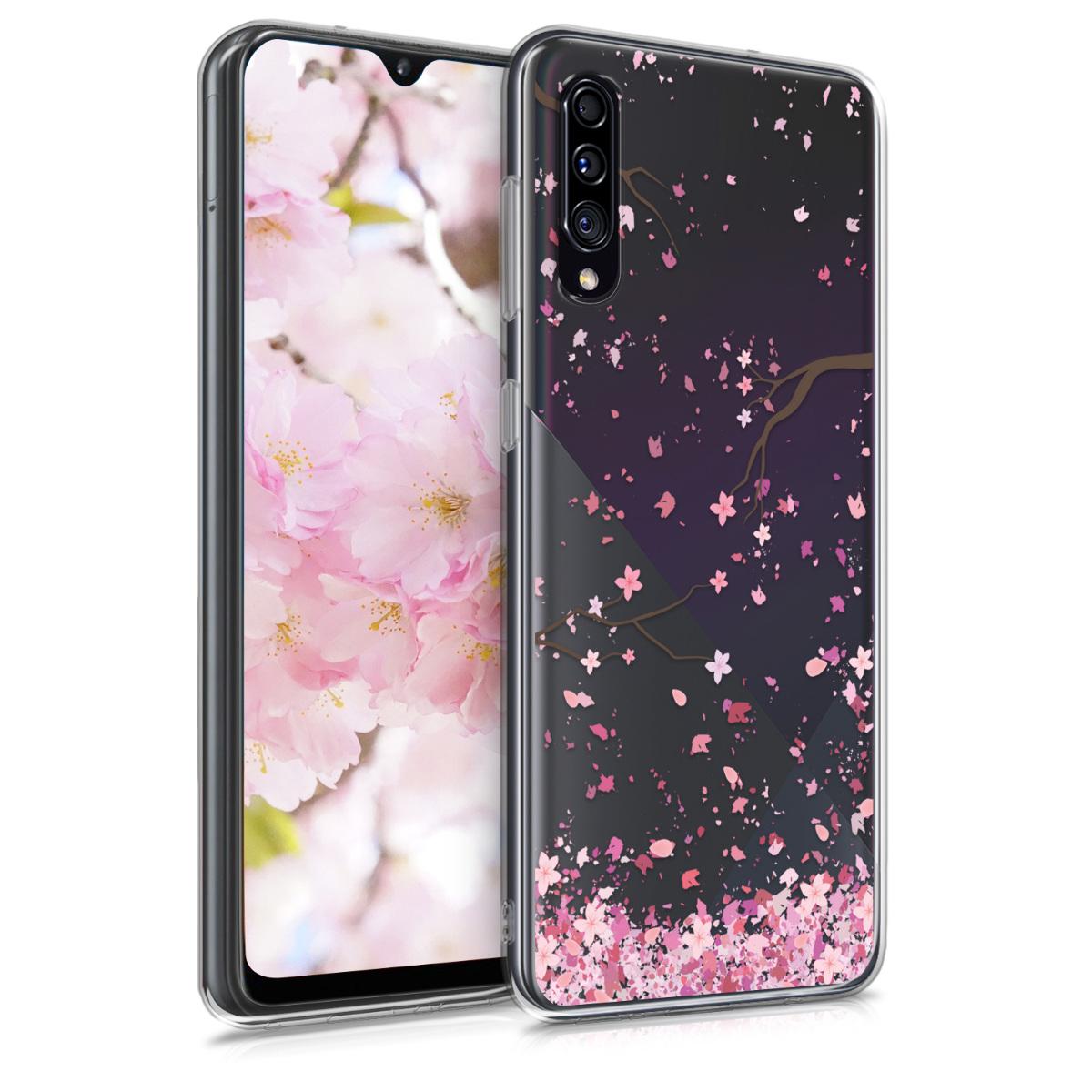 Kvalitní silikonové TPU pouzdro pro Samsung A30s - Cherry Blossoms růžové / tmavě hnědá / transparentní