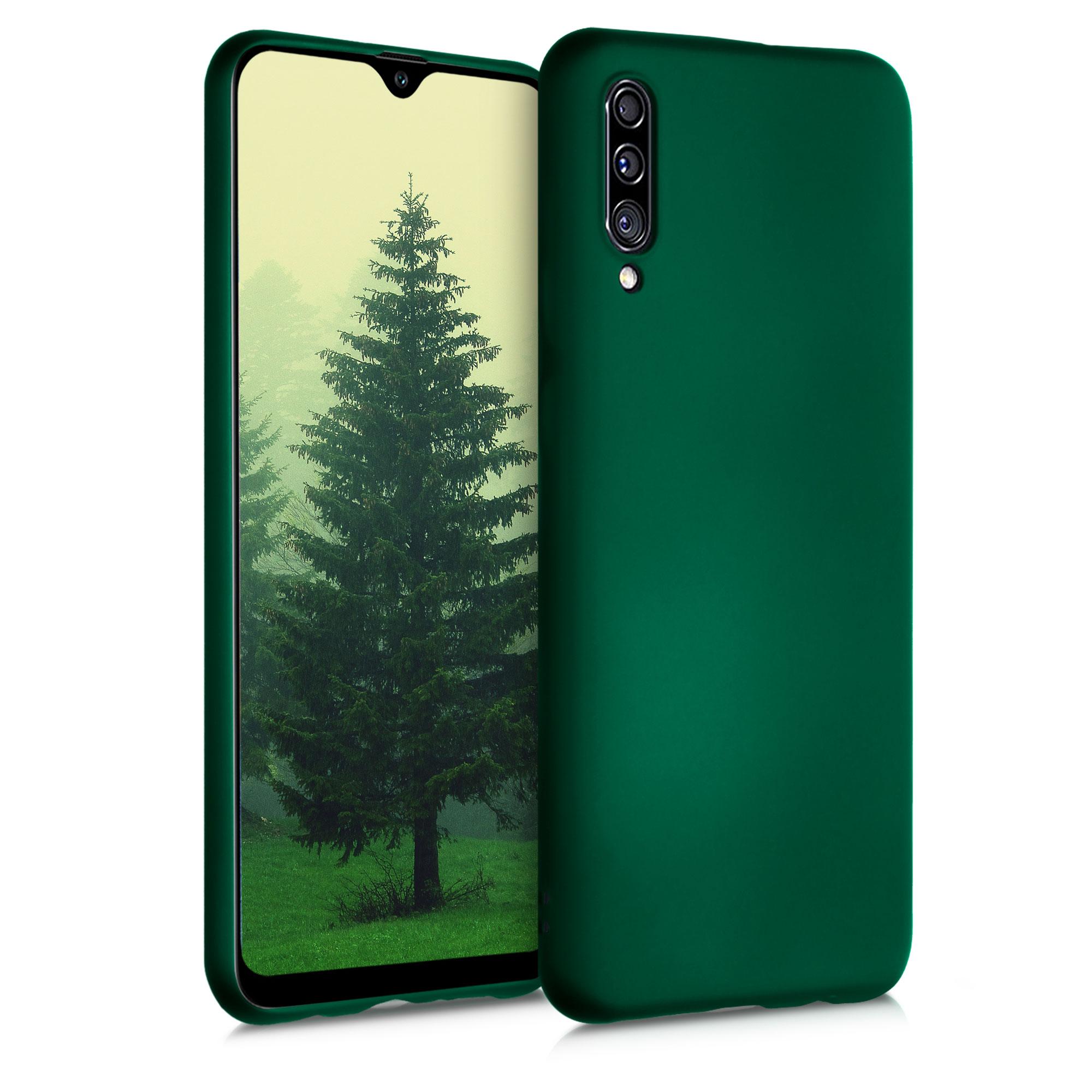 Kvalitní silikonové TPU pouzdro pro Samsung A30s - Tmavé metalické zelené