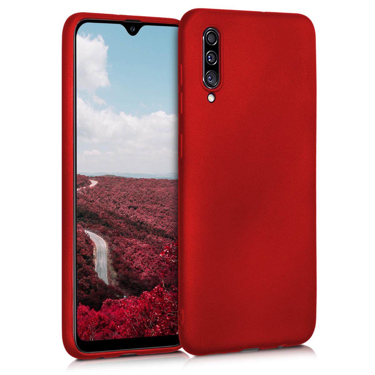 Kvalitní silikonové TPU pouzdro pro Samsung A30s - metalické tmavě červená