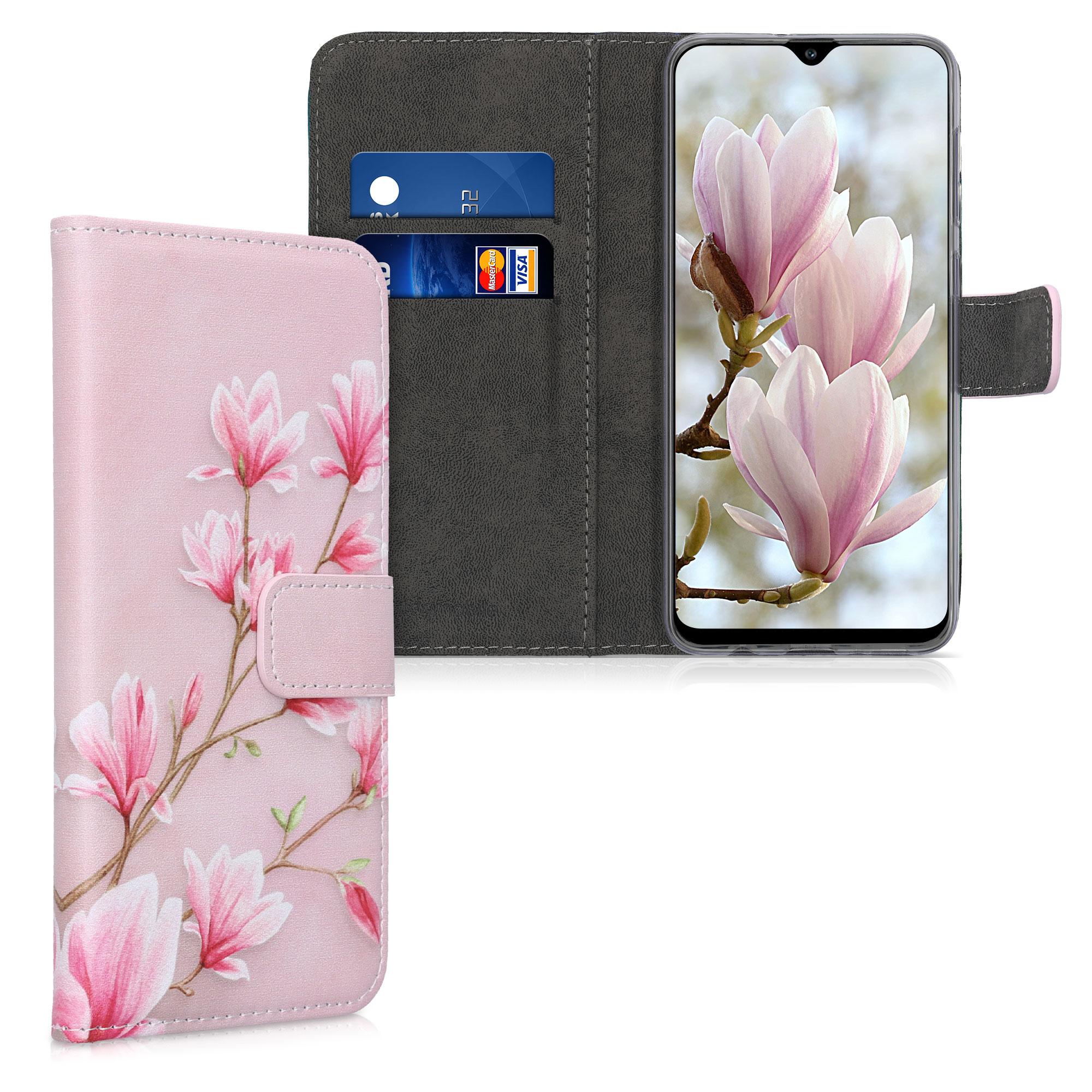 Kožené pouzdro pro Samsung A30s - Magnolie Pink / White / Pink Dusty