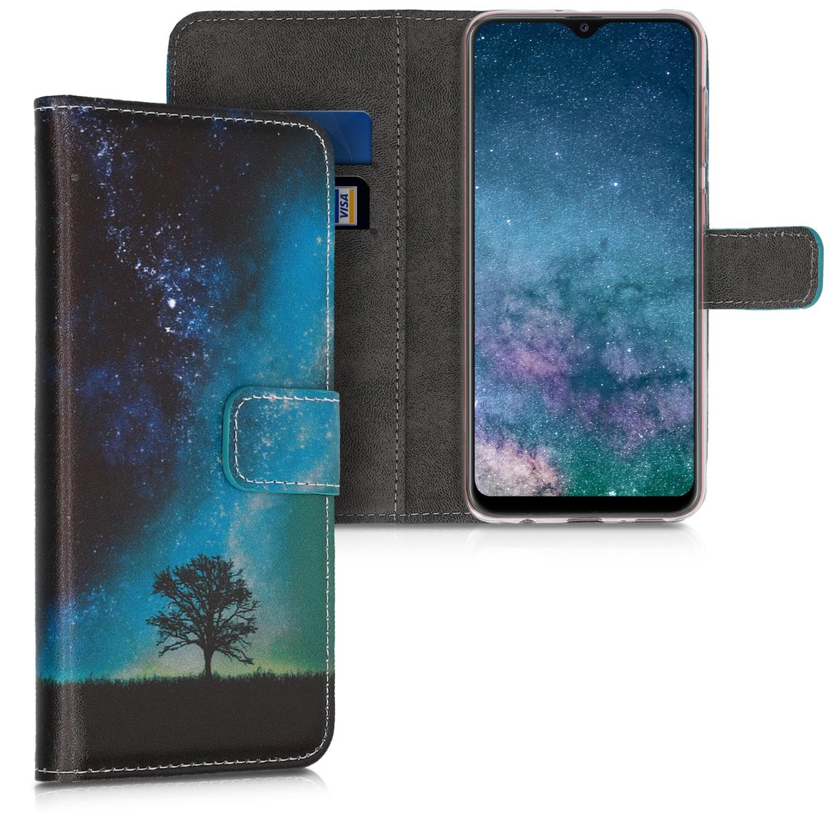 Kožené pouzdro pro Samsung A20 - kosmické přírodní modré / šedé / černé