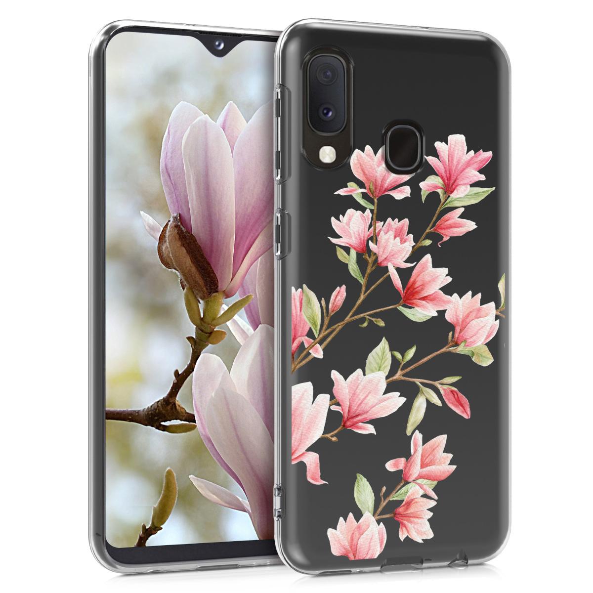 Kvalitní silikonové TPU pouzdro pro Samsung A20 - Magnolie růžové / bílé / transparentní