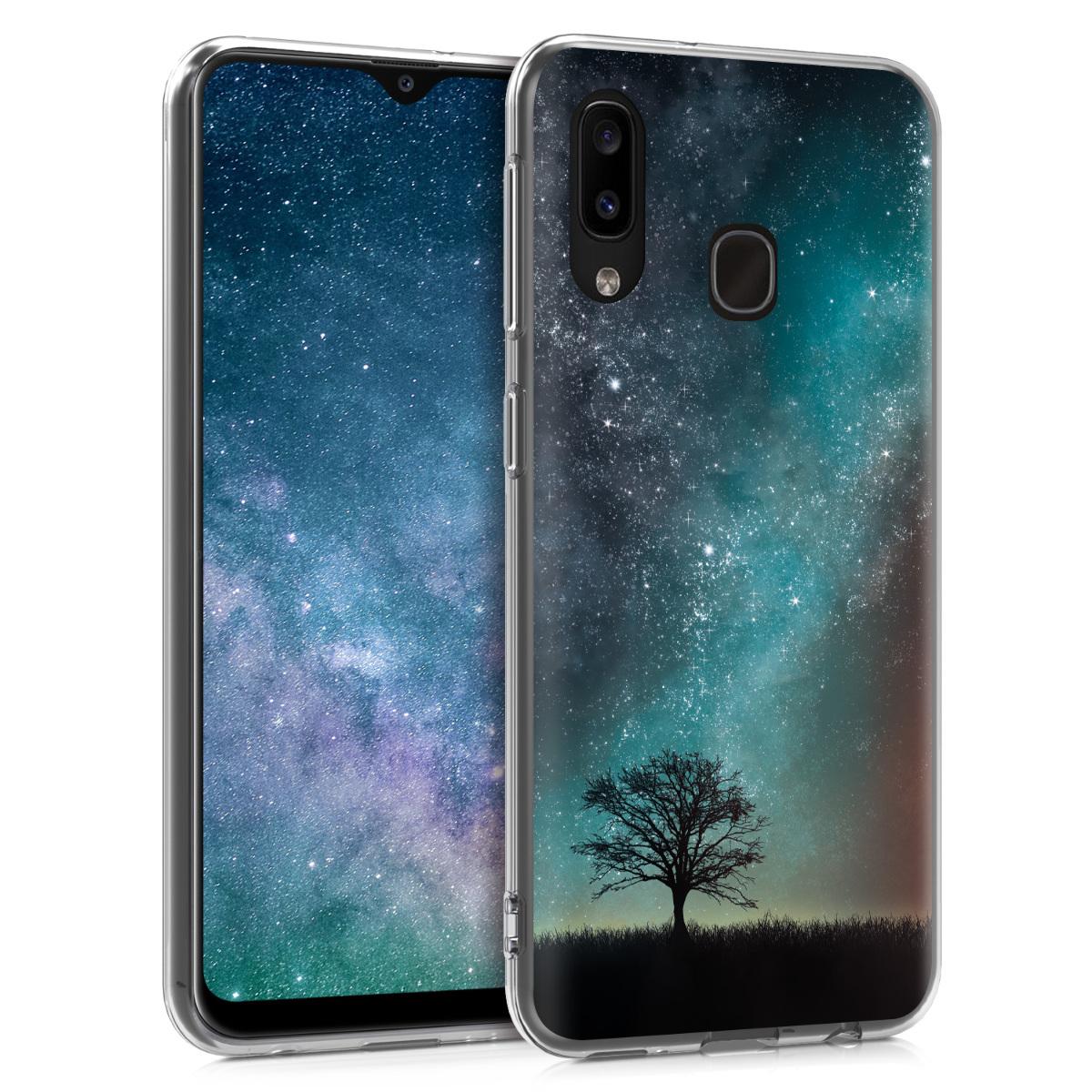 Kvalitní silikonové TPU pouzdro pro Samsung A20 - kosmické přírodní modré / šedé / černé