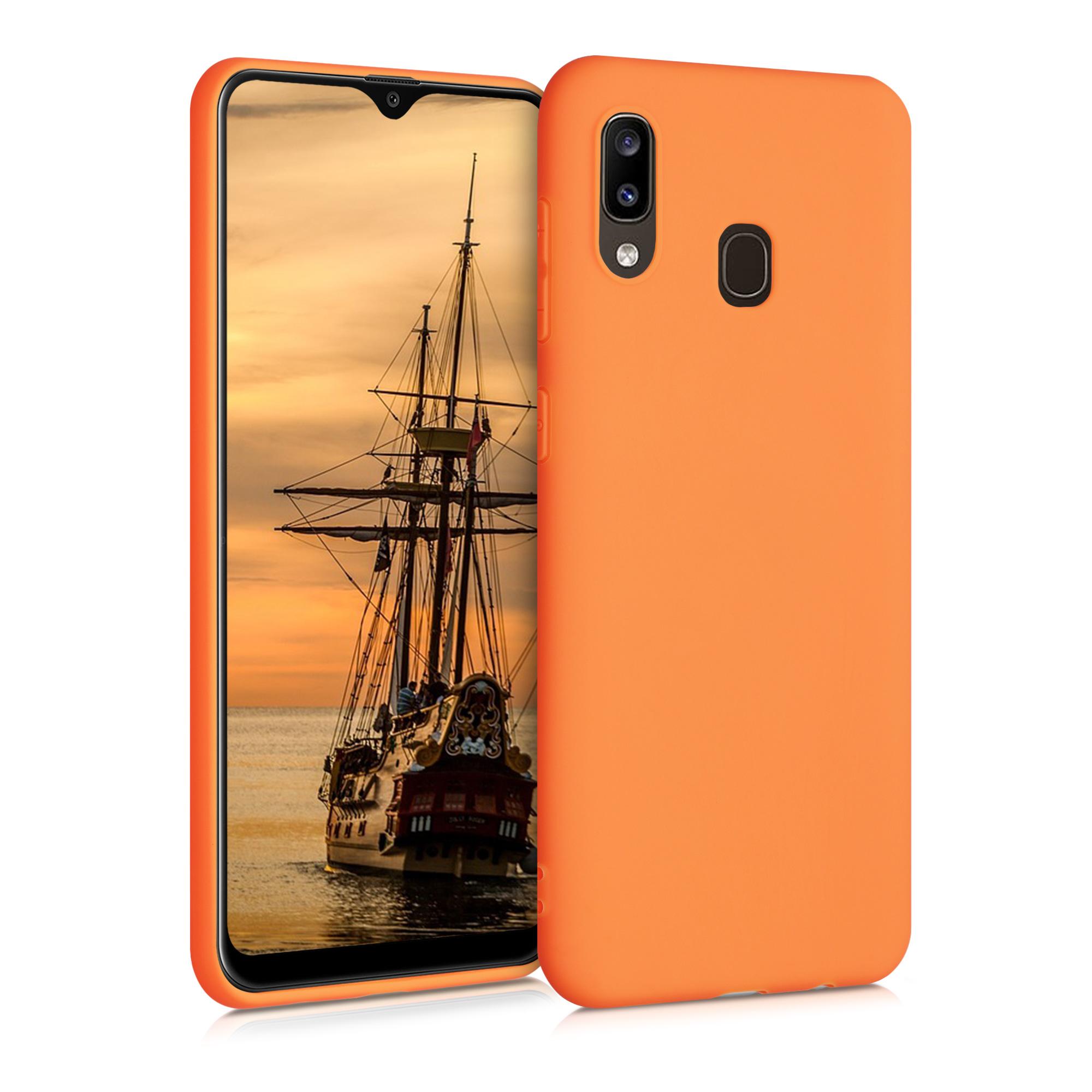 Kvalitní silikonové TPU pouzdro pro Samsung A20 - kosmické oranžové