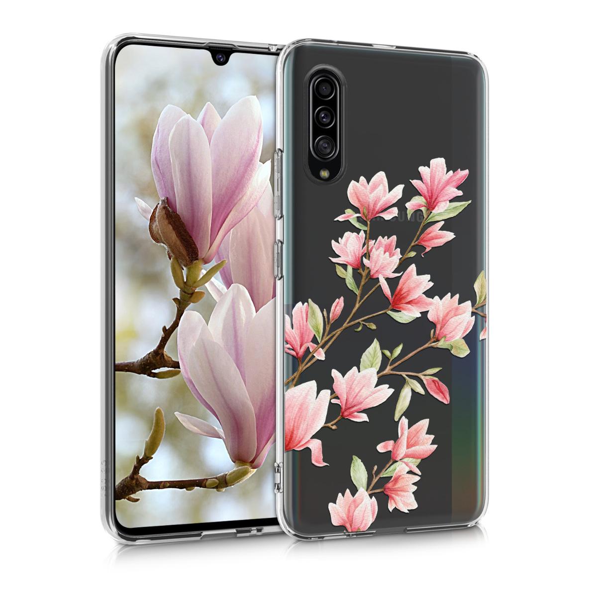 Kvalitní silikonové TPU pouzdro pro Samsung A90 (5G) - Magnolie růžové / bílé / transparentní