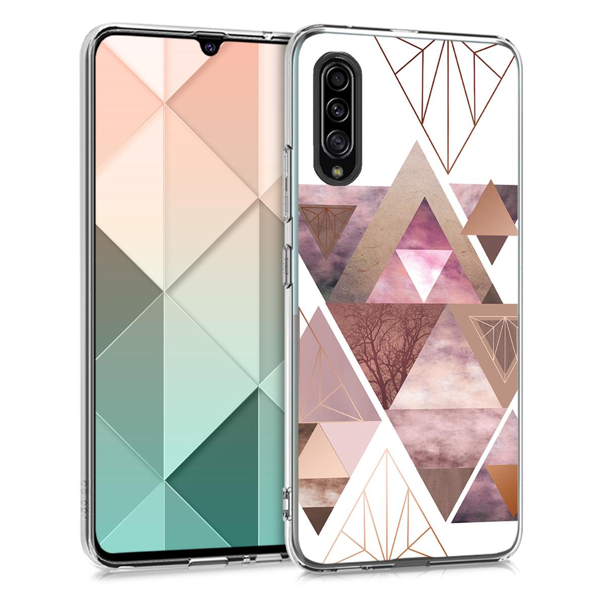 Kvalitní silikonové TPU pouzdro pro Samsung A90 (5G) - Patchwork trojúhelníky světle růžové / starorůžové rosegold / bílé