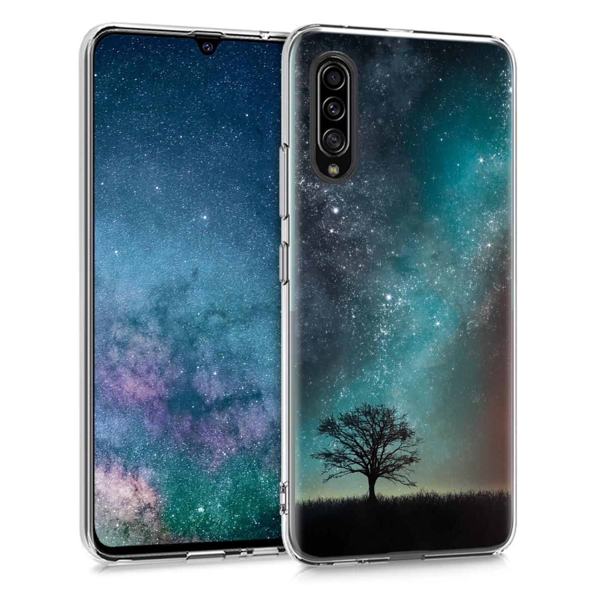 Kvalitní silikonové TPU pouzdro pro Samsung A90 (5G) - kosmické přírodní modré / šedé / černé