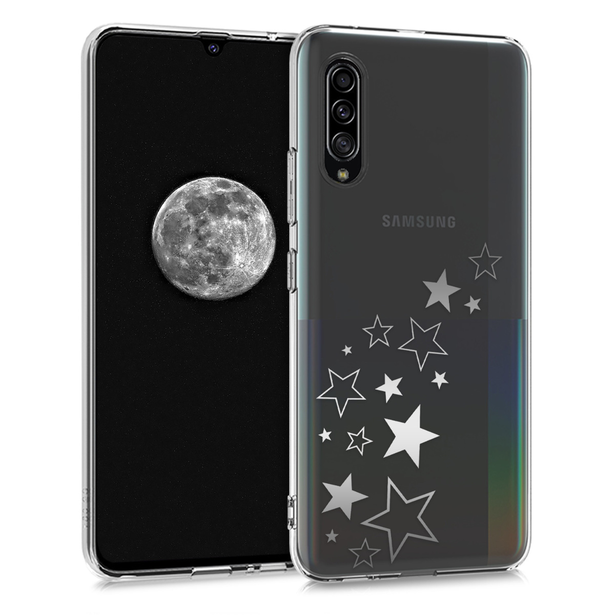 Kvalitní silikonové TPU pouzdro pro Samsung A90 (5G) - Hvězda Mix stříbrné / transparentní