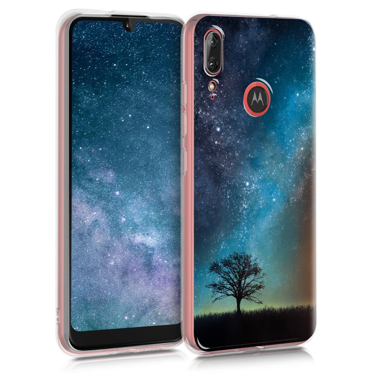 Kvalitní silikonové TPU pouzdro   obal pro Motorola Moto E6 plus - Cosmic Nature Modrá / Šedá / Černá