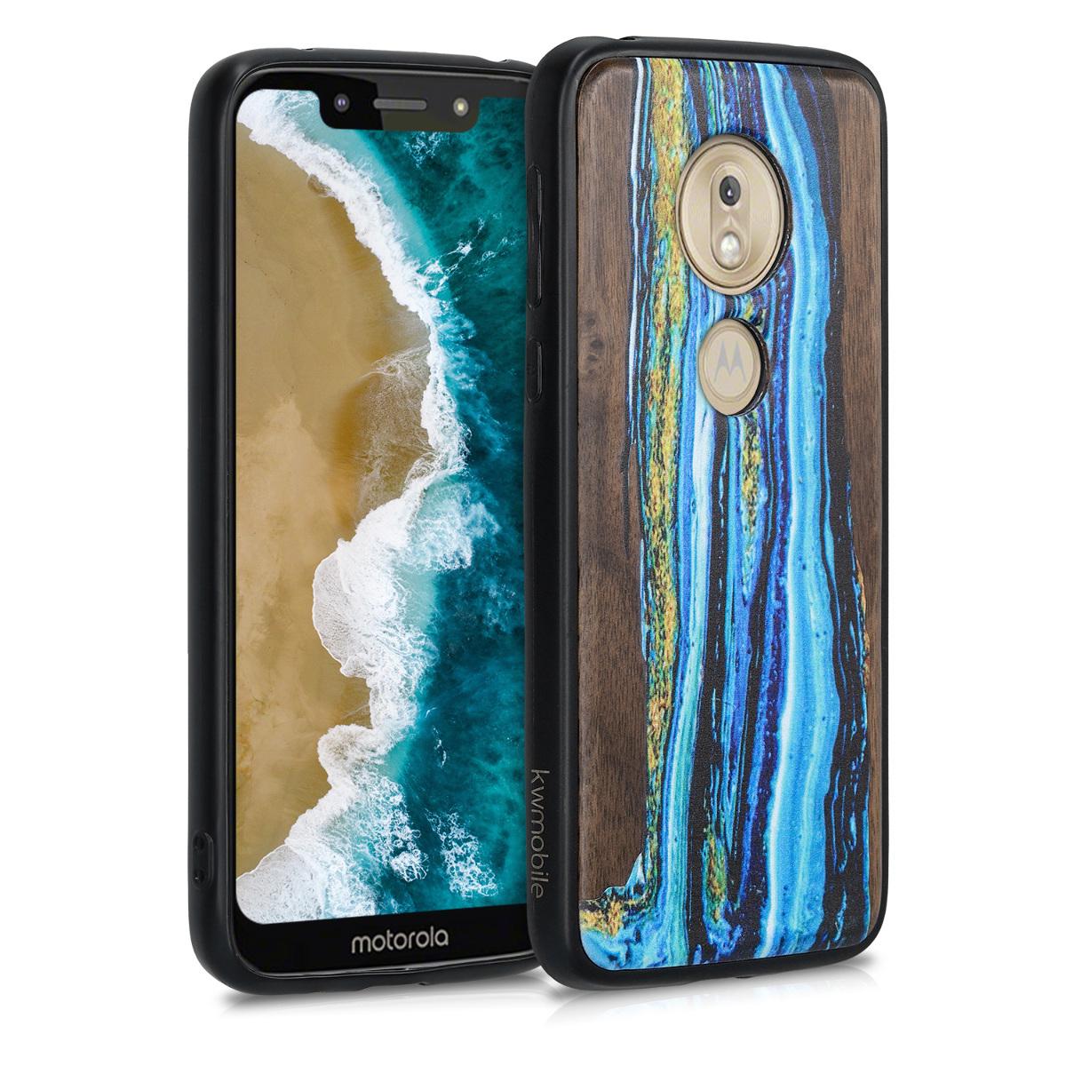 Dřevěné pouzdro   obal pro Motorola Moto G7 Play (EU-Version) - Akvarelové vlny Modrá / Hnědá
