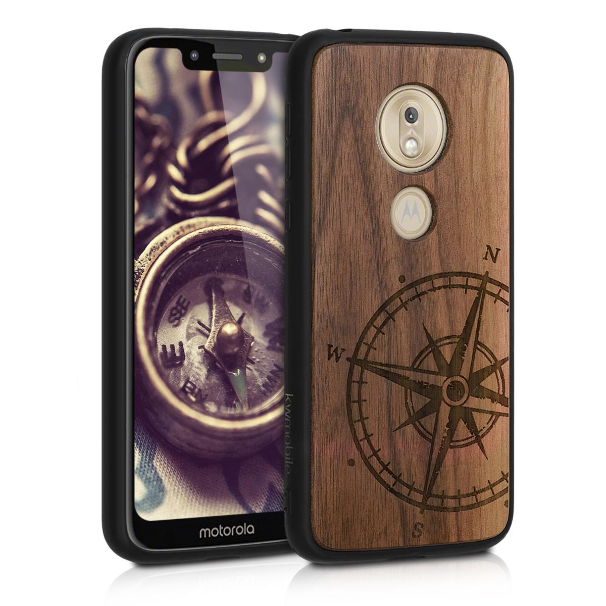 Dřevěné pouzdro   obal pro Motorola Moto G7 Play (EU-Version) - Navigační kompas tmavě hnědý
