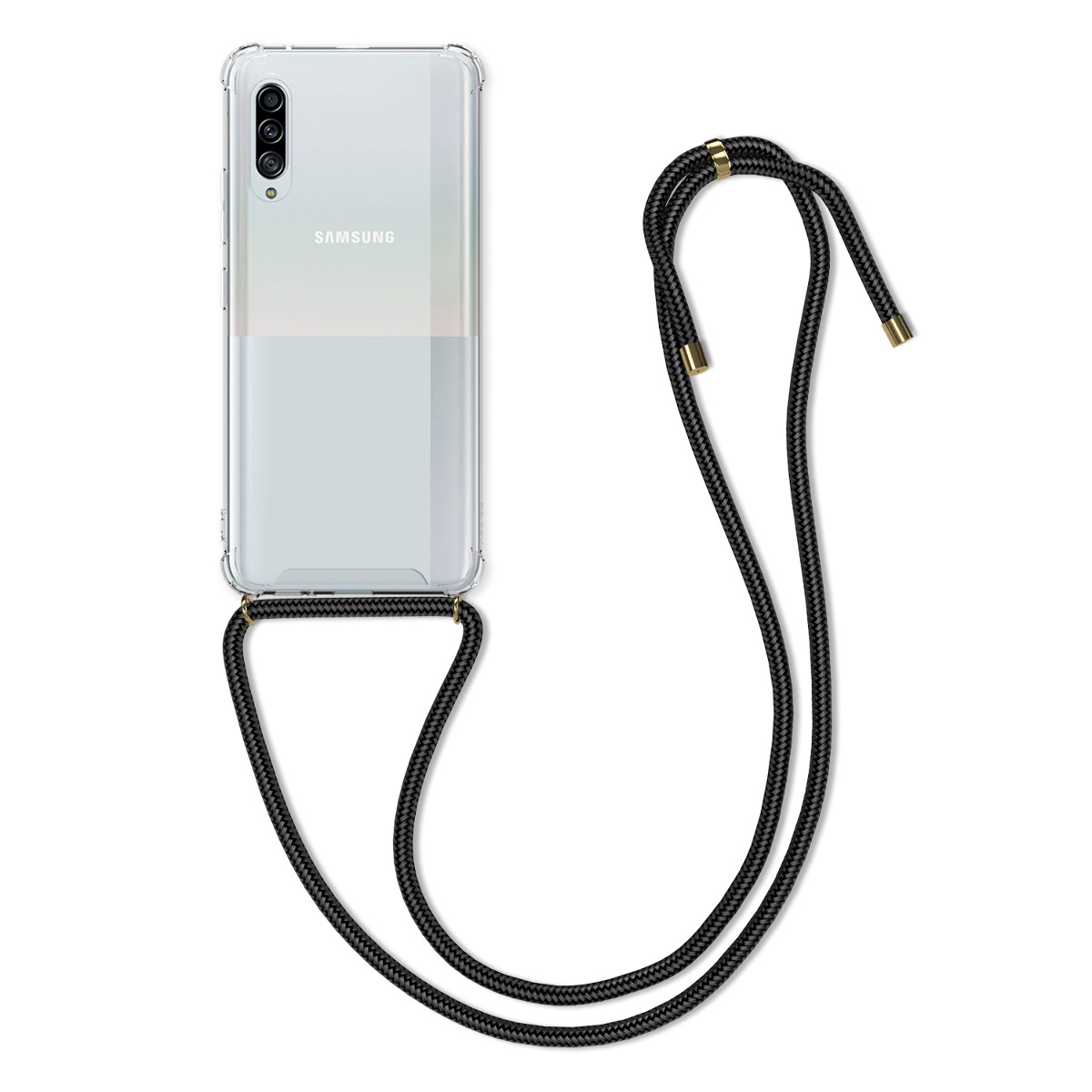 Kvalitní silikonové TPU pouzdro pro Samsung A90 (5G) - černé / transparentní