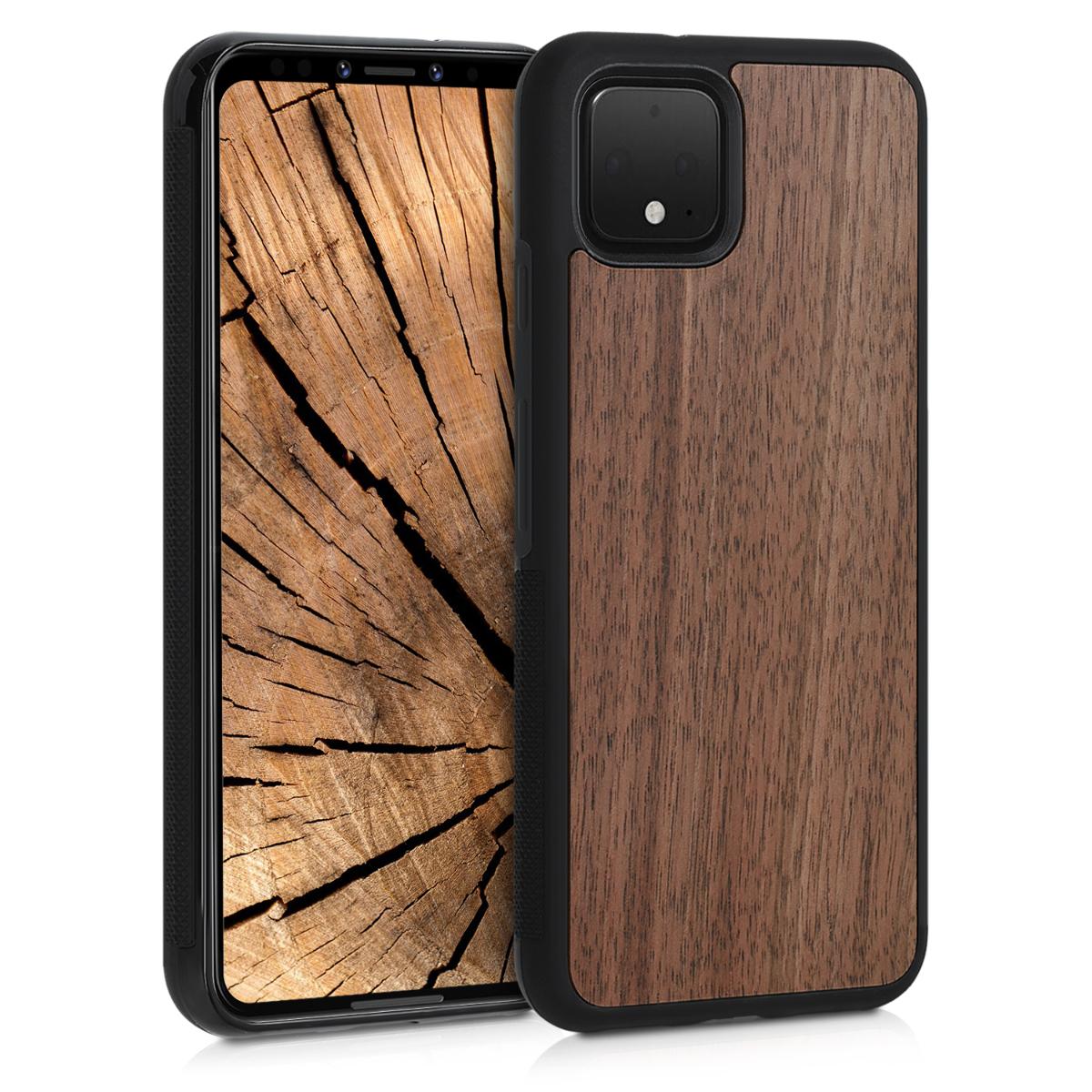 Dřevěné pouzdro | obal pro Google Pixel 4 - Tmavě hnědá