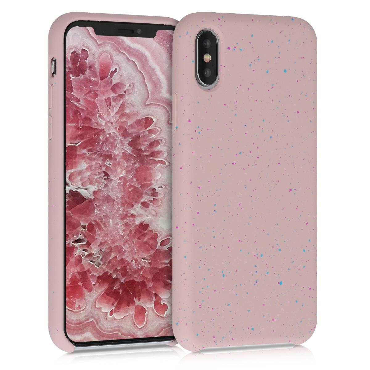 Kvalitní silikonové TPU pouzdro pro Apple iPhone XS - Paint Splatter tmavě růžová | modrá | Dusty Pink