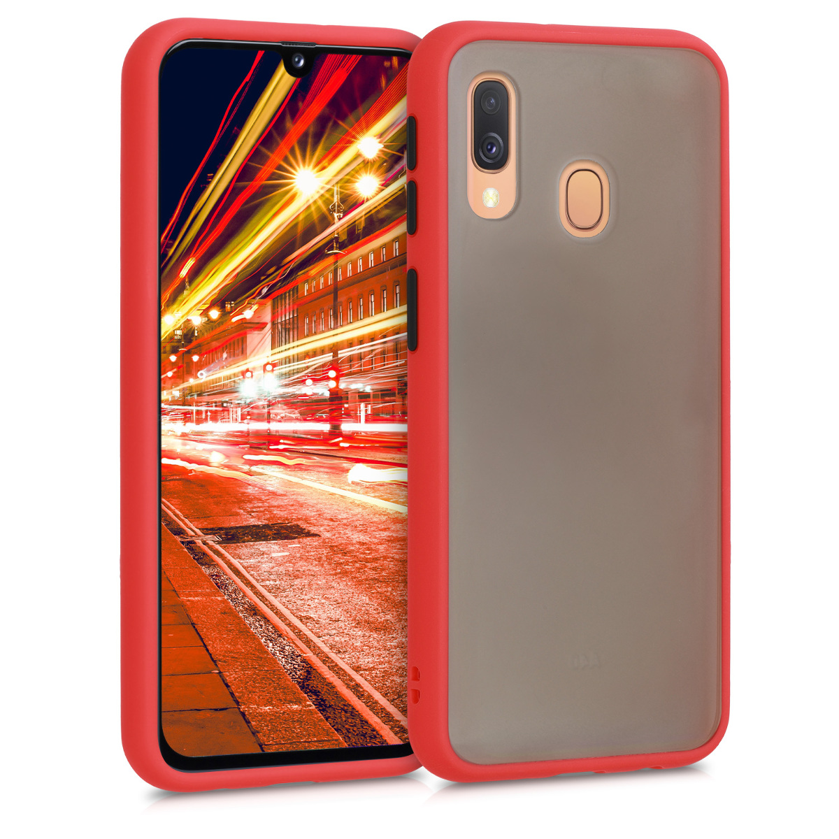 Kvalitní plastové pouzdro pro Samsung A40 - červené / matné transparentní