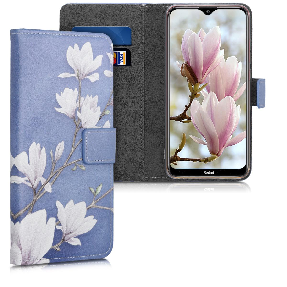 Kožené pouzdro | obal pro Xiaomi Redmi 8A - Magnolie Taupe / bílá / modrý šedá