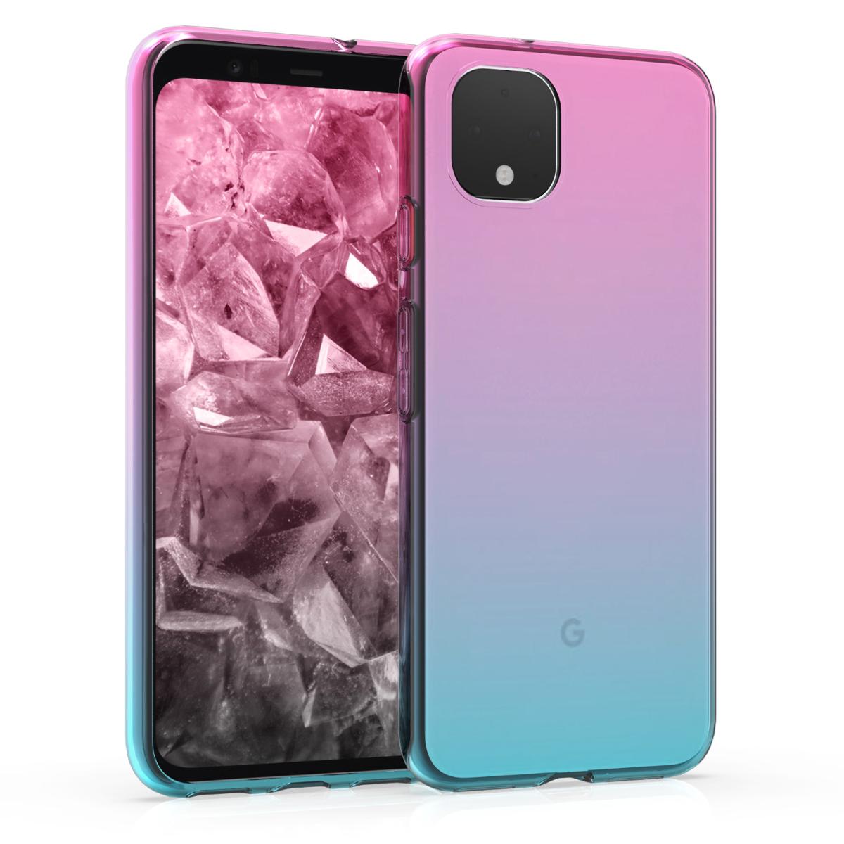 Kvalitní silikonové TPU pouzdro | obal pro Google Pixel 4 - Bicolor Tmavě růžová / Modrá / Transparentní