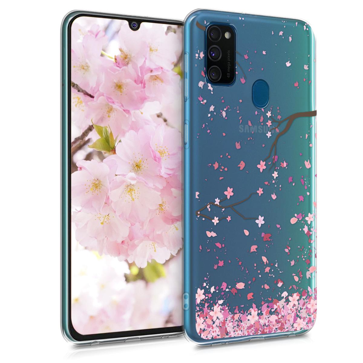 Kvalitní silikonové TPU pouzdro pro Samsung M30s - Cherry Blossoms růžové / tmavě hnědá / transparentní