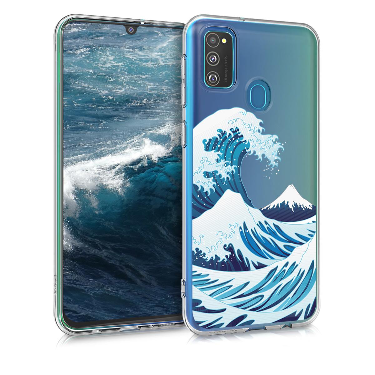 Kvalitní silikonové TPU pouzdro pro Samsung M30s - Japenese Wave modré / Bílá / Průhledná