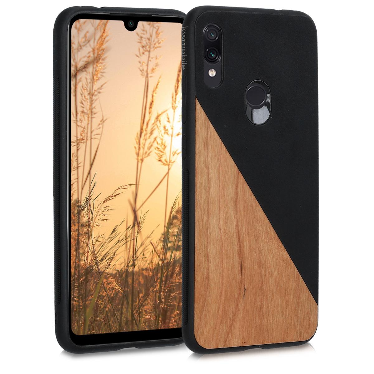 Dřevěné pouzdro | obal pro Xiaomi Redmi Note 7 | Note 7 Pro - Two-Tone dřevěný černý / hnědý