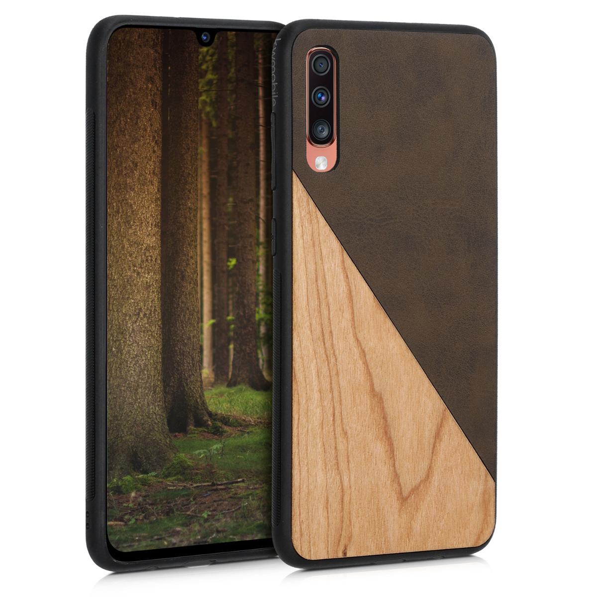 Dřevěné pouzdro pro Samsung A70 - Two-Tone Wood tmavě šedé / hnědá