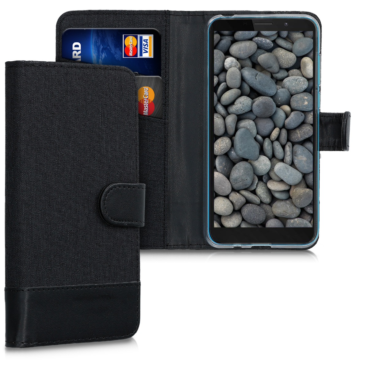 Textilní látkové pouzdro | obal pro Motorola Moto E6 Play - Antracitová / černá