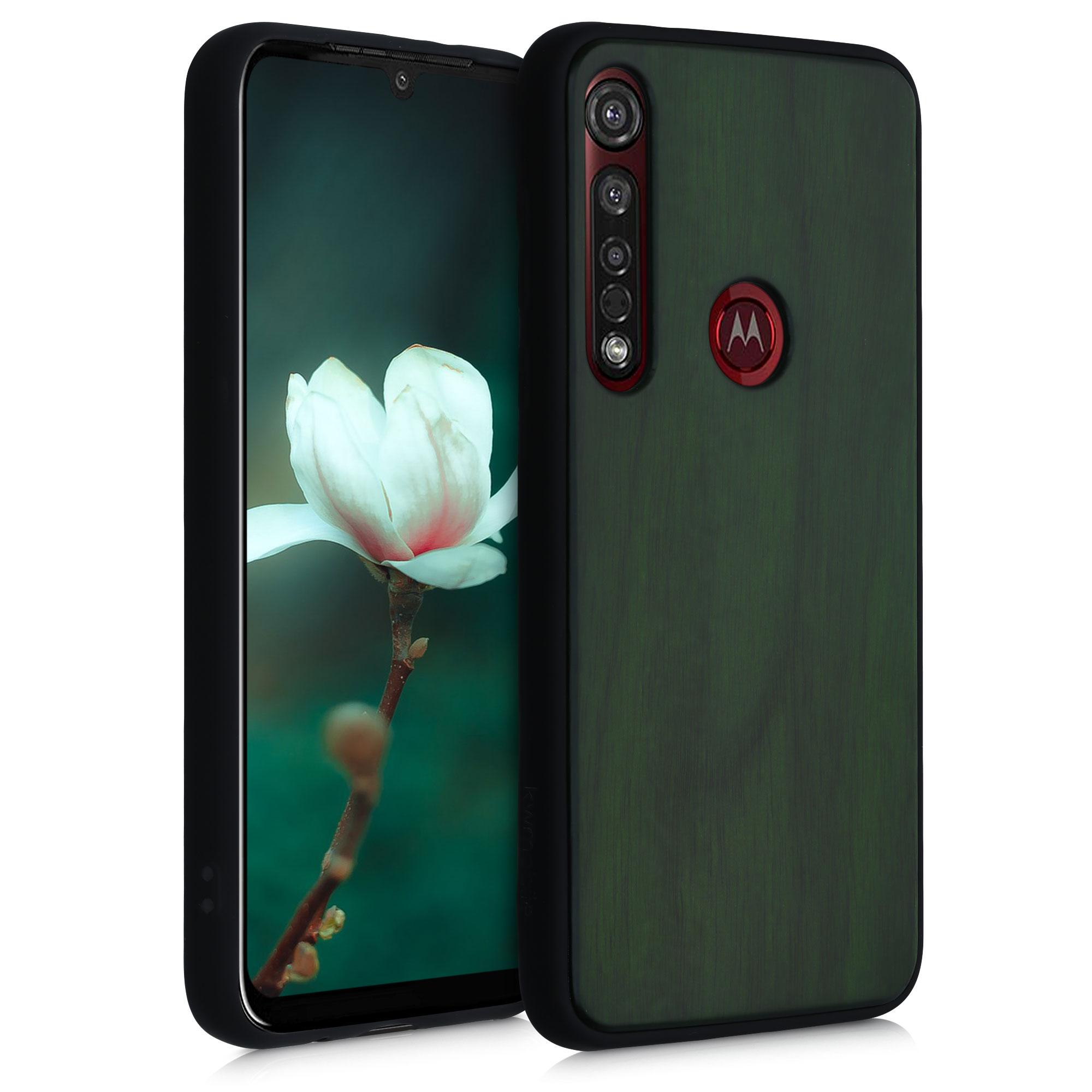 Dřevěné pouzdro | obal pro Motorola Moto G8 Plus - Tmavě zelená
