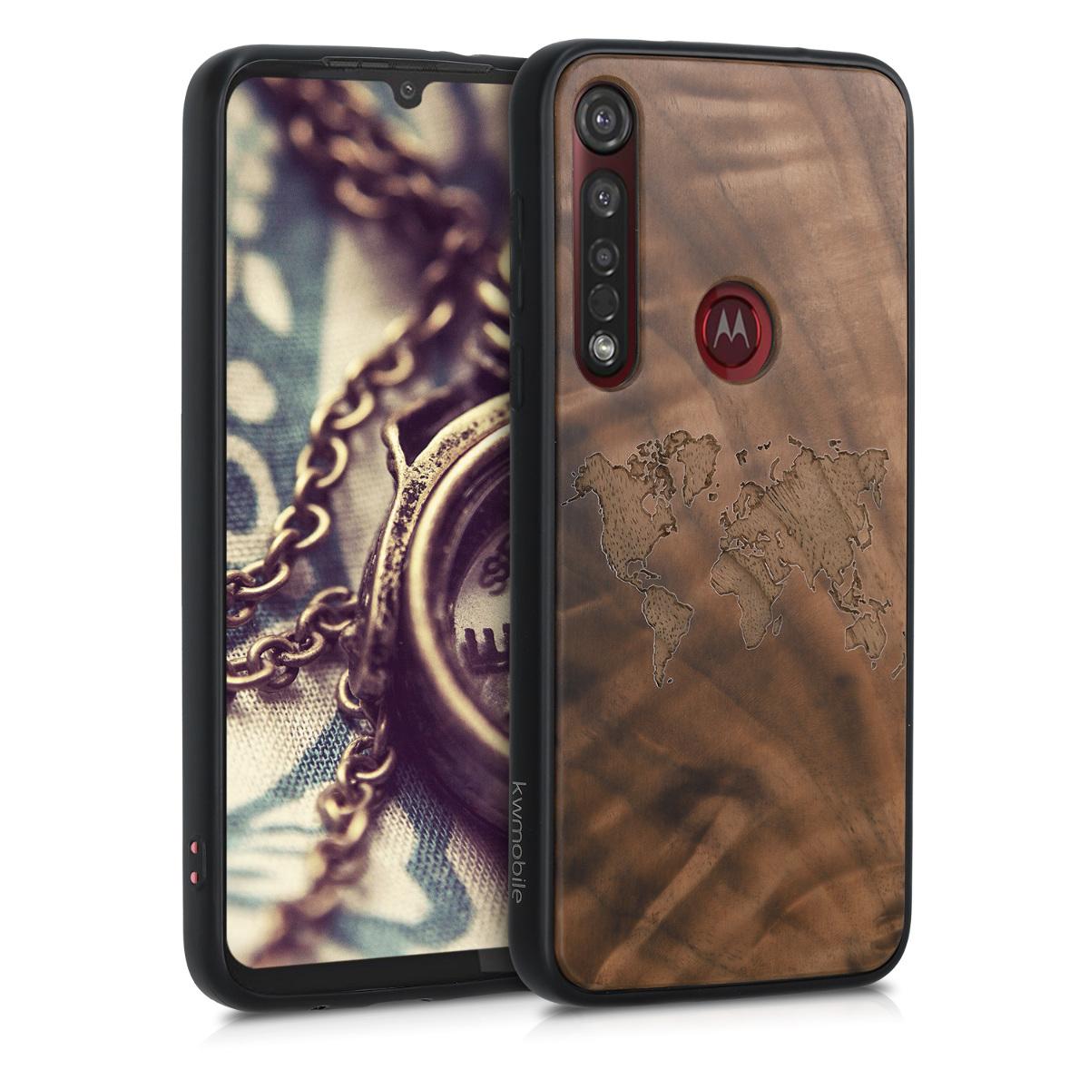 Dřevěné pouzdro | obal pro Motorola Moto G8 Plus - Travel Outline Tmavě hnědá
