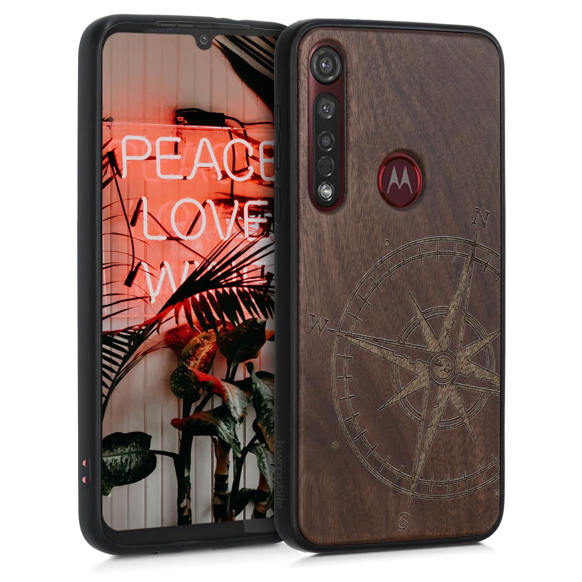 Dřevěné pouzdro | obal pro Motorola Moto G8 Plus - Navigační kompas Tmavě hnědá