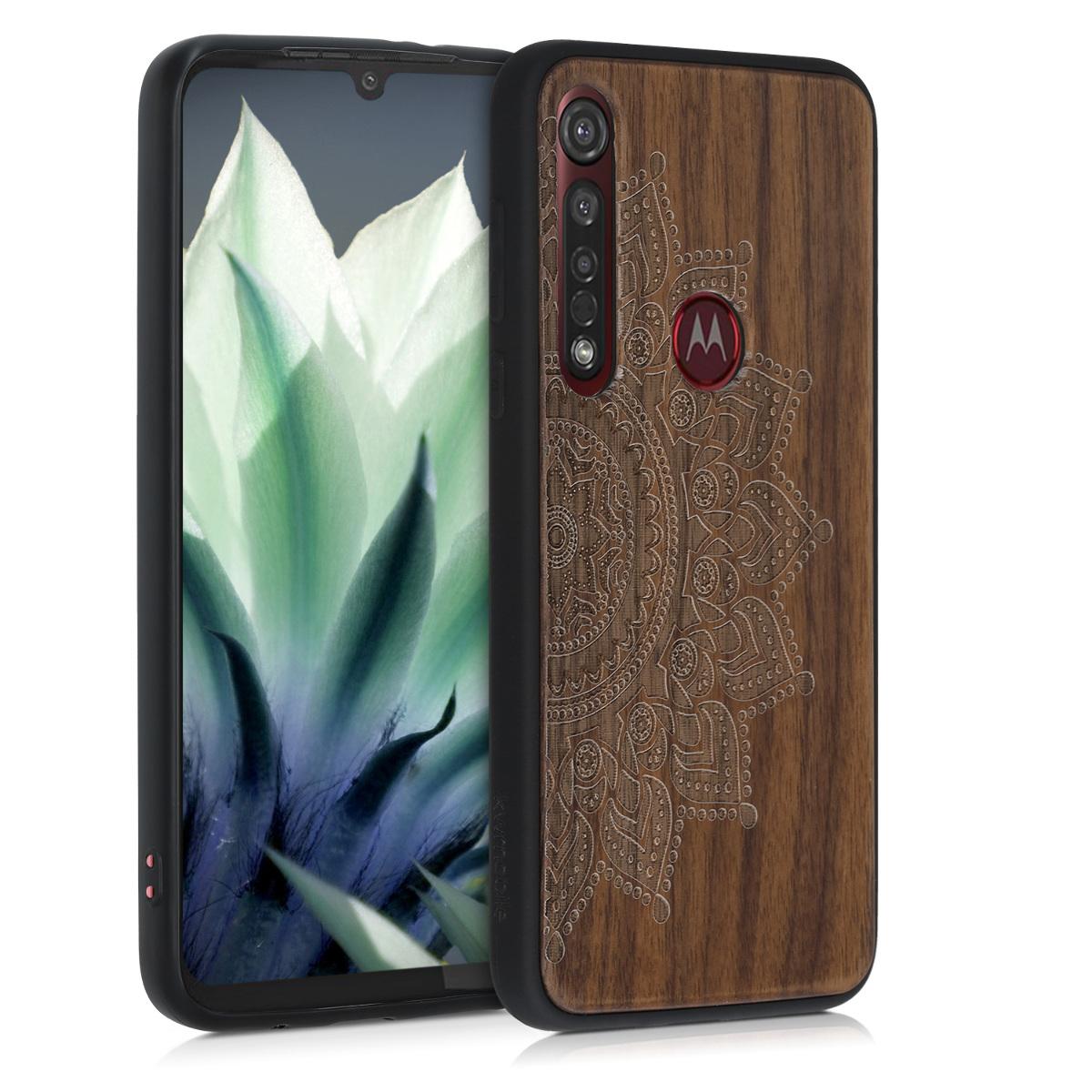 Dřevěné pouzdro | obal pro Motorola Moto G8 Plus - Vycházející slunce Tmavě hnědá
