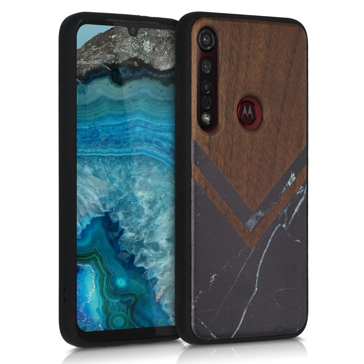Dřevěné pouzdro | obal pro Motorola Moto G8 Plus - Dřevo a mramor Černá / Bílá / Tmavě hnědá