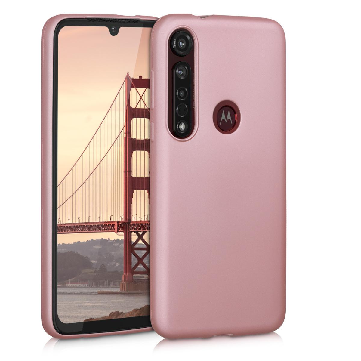 Kvalitní silikonové TPU pouzdro | obal pro Motorola Moto G8 Plus - Metalická růžově zlatá