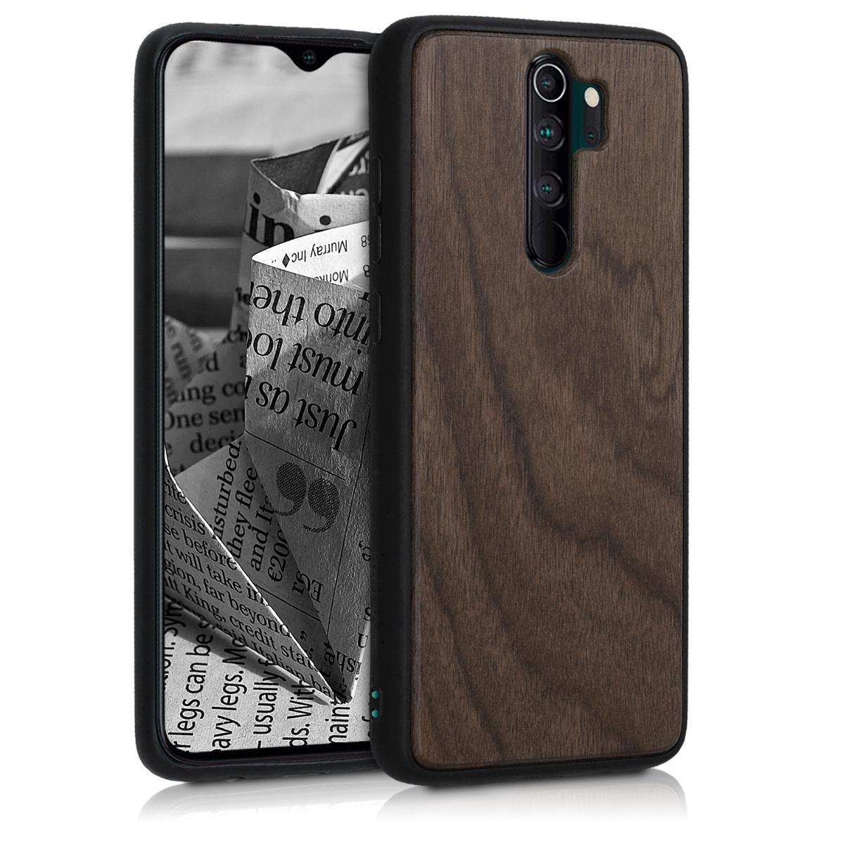 Dřevěné pouzdro | obal pro Xiaomi Redmi Note 8 Pro - Tmavě hnědá