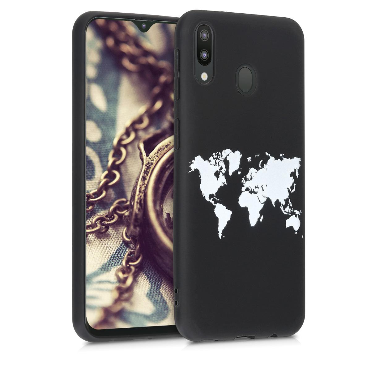 Kvalitní silikonové TPU pouzdro pro Samsung M20 (2019) - Travel Outline bílé / černé