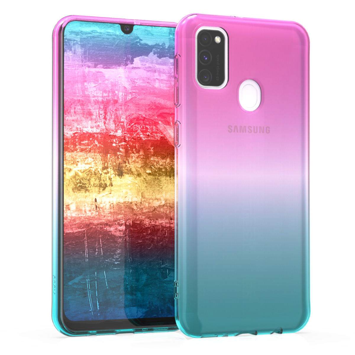Kvalitní silikonové TPU pouzdro pro Samsung M30s - Bicolor tmavě růžová / modré / průhledná
