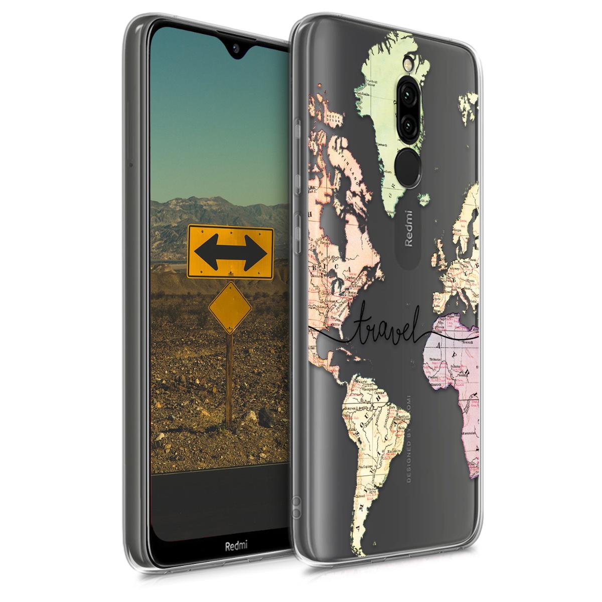 Kvalitní silikonové TPU pouzdro | obal pro Xiaomi Redmi 8 - Travel černý / Multicolor / transparentní