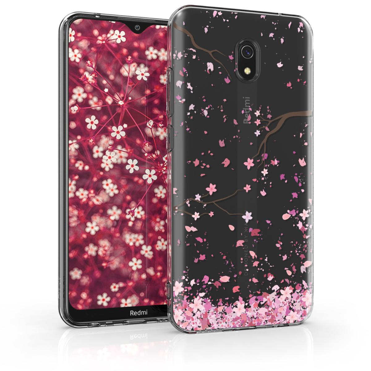 Kvalitní silikonové TPU pouzdro | obal pro Xiaomi Redmi 8A - Cherry Blossoms růžový / tmavě hnědá / transparentní