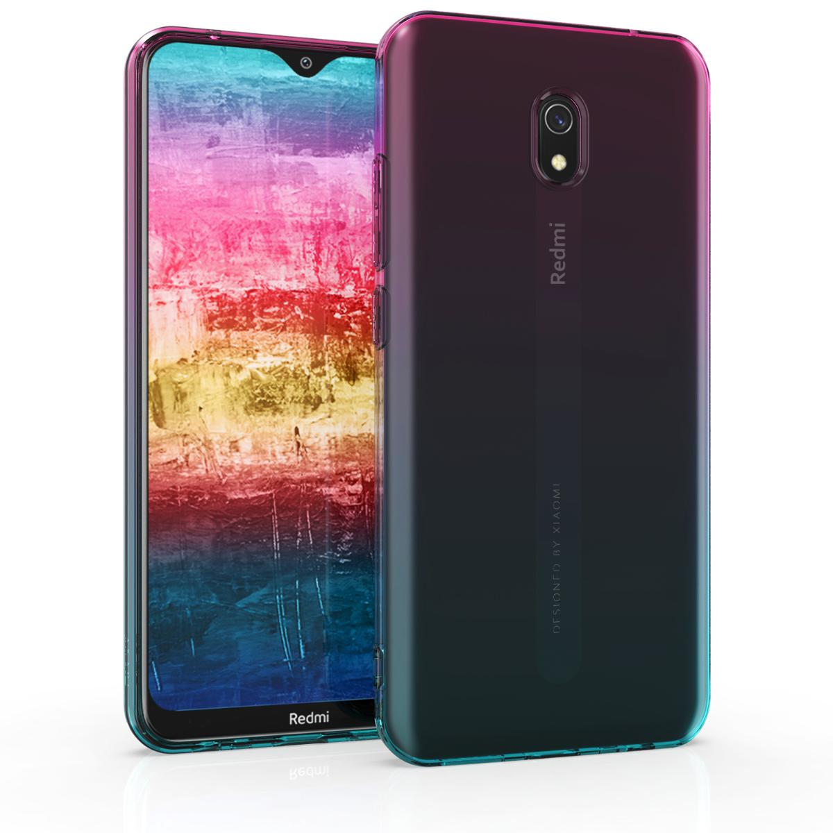 Kvalitní silikonové TPU pouzdro | obal pro Xiaomi Redmi 8A - Bicolor tmavě růžová / modrý / průhledná