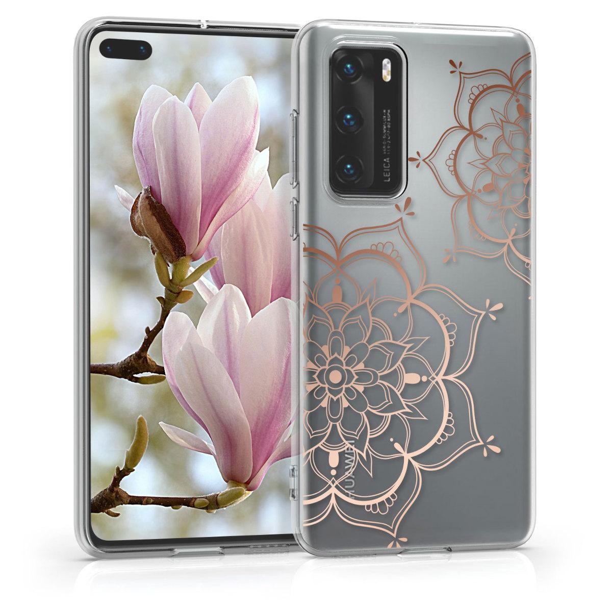 Silikonové průhledné pouzdro / obal s motivem květin v rose gold pro Huawei P40