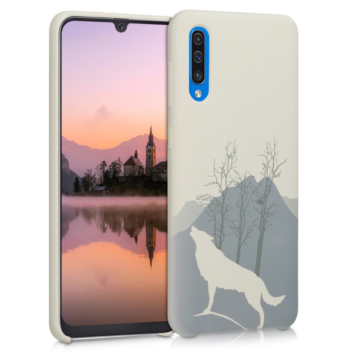 Kvalitní silikonové TPU pouzdro pro Samsung A50 - Laser Engraved Vlk světle  šedé