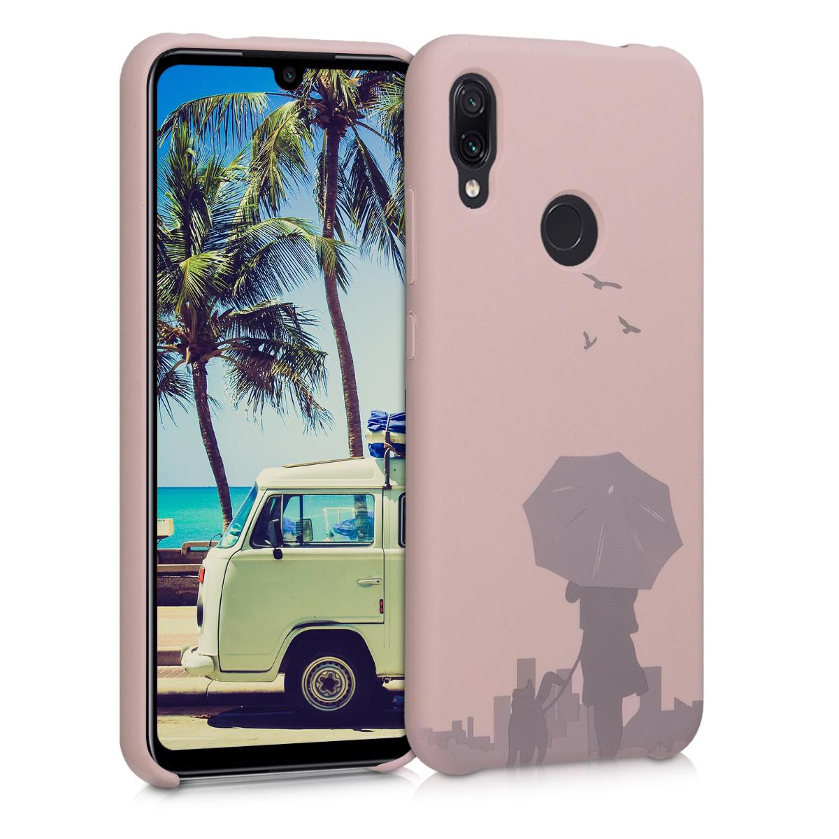 Kvalitní silikonové TPU pouzdro | obal pro Xiaomi Redmi Note 7 | Note 7 Pro - Laser Engraved Umbrella Dusty růžový