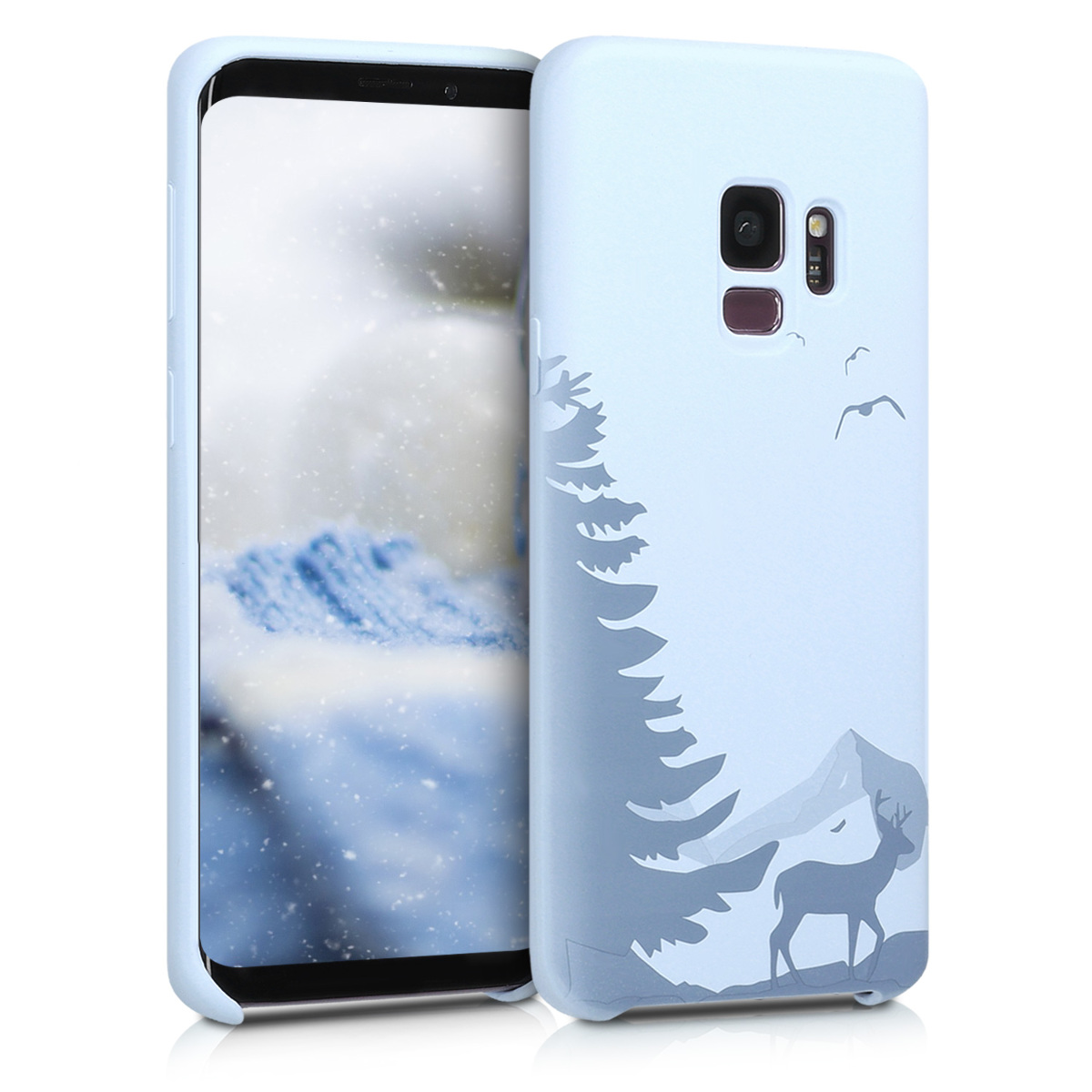 TPU Silikonové pouzdro pro Samsung Galaxy S9 - Flexible Cover with Camera Protection - Laser Engraved Deer Light Blue