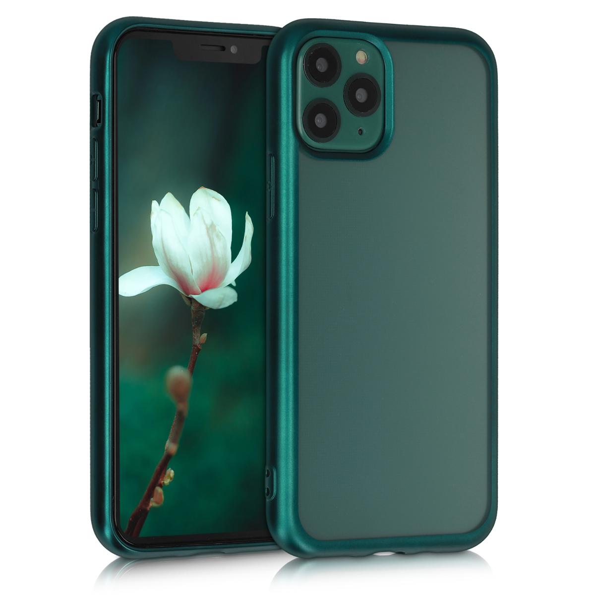 Kvalitní silikonové TPU pouzdro pro Apple iPhone 11 Pro - Dark Green | Matte Transparent